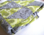 20% OFF SALE Green and Grey Patchwork Car Seat Quilt