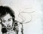 The Dreamer - Drypoint Etching