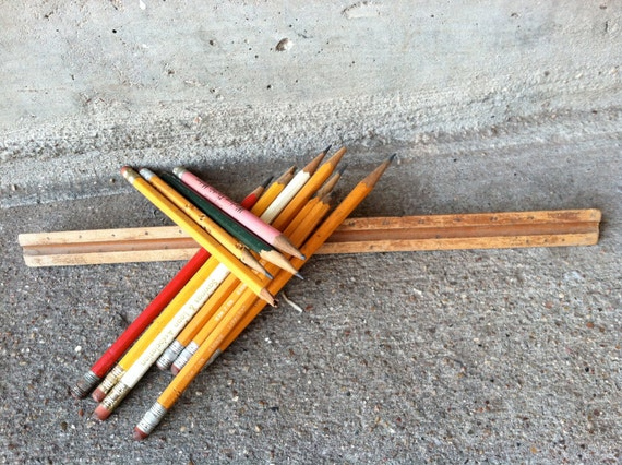 Vintage pencils and ruler wooden pencils, wood pyramid ruler triangular triangle, old, office supplies