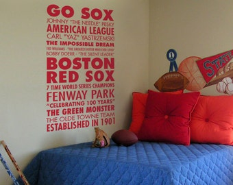 Go Sox, Boston Red Sox Baseball - Sports Subway Art Vinyl Wall Word Decal