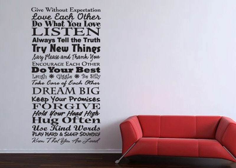 Family rules vinyl wall word quote decal art by for Decoration word