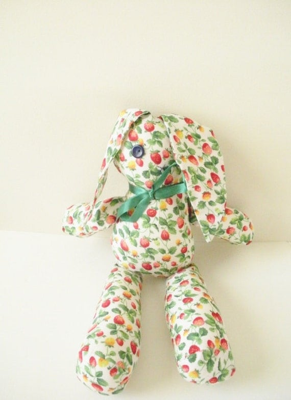 Kawaii Bunny Doll - Strawberry Print - Cotton Doll - Girl Doll - Rag Doll