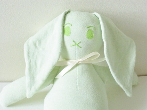 Mint Green Bunny Plush - Eco Friendly -Knit Bunny - Child Friendly