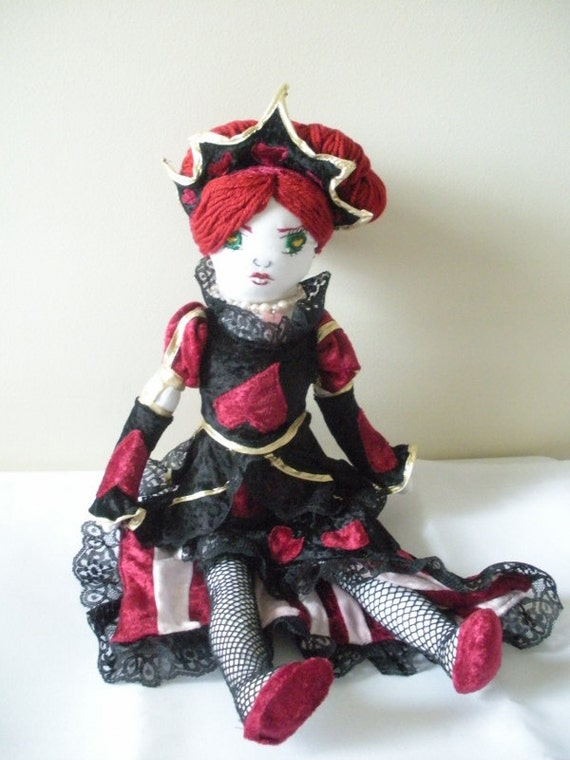 Queen Of Hearts Doll - Alice In Wonderland Inspired - Made To Order