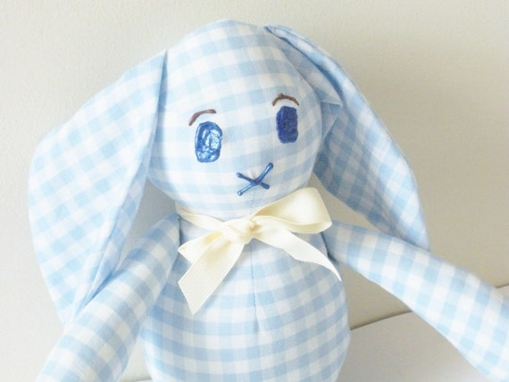 Blue Bunny Toy  For Boys, Nursery Decor Gingham Cotton Toy