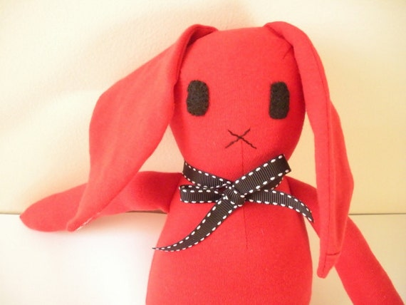 Red Bunny Doll Upcycled Toy, Eco Friendly Knit Bunny, Child Friendly