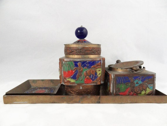 Reserved Rare Antique/Vintage/Old  cloisonne  brass tobacco box/tea caddy/ash tray and canister set