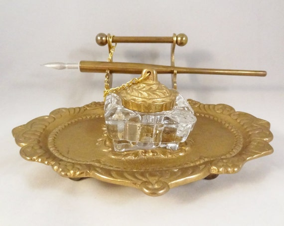 Perfect Vintage Brass Ink Well Tray with pen -RARE-Heavy