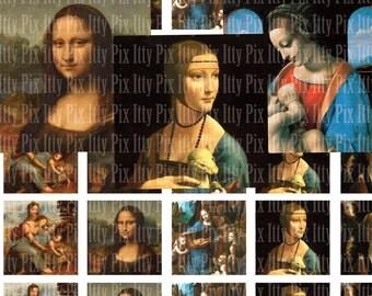 Digital Collage Sheet - Leonardo da Vinci digital collage sheet - 1 inch square - Inchies - Instant Download