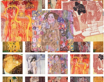 Digital Collage Sheet - Klimt digital collage sheet - 1 inch square - Inchies - Instant Download