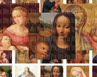 Digital Collage Sheet - Virgin Mary - Madonna- Inchies - 1 inch square digital collage - Instant Download