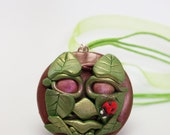 The Green Man Lady Bird Wearable Art Polymer Clay Mica Powder Organza Ribbon Necklace
