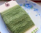 Green Floral Vintage Lace, 3 yards