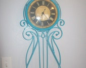 Turquoise Upcycled Metal Wall Clock
