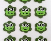 12 Fondant Edible Cupcake/Cookie Toppers - Cute Frogs