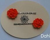 Orange Rosette Flower Bobby Pins - Set of Two
