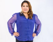 Plus Size Signature Chiffon Shirt in Blue