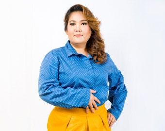 Plus Size Polka Dot Shirt in Blue