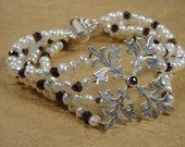 Cultured Pearl, Garnet and Sterling Multistrand Bridal Wedding Bracelet - ON SALE - 30% OFF