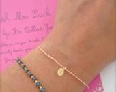 Wish bracelet, Tiny medal, Lucky bracelet, Minimalist everyday bracelet, Gold dot bracelet