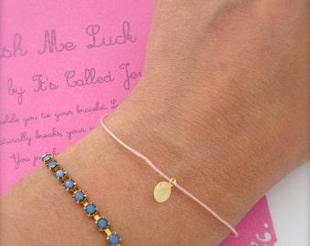 Wish bracelet, String bracelet, Tiny medal, Lucky bracelet, Minimalist everyday bracelet, Gold dot bracelet