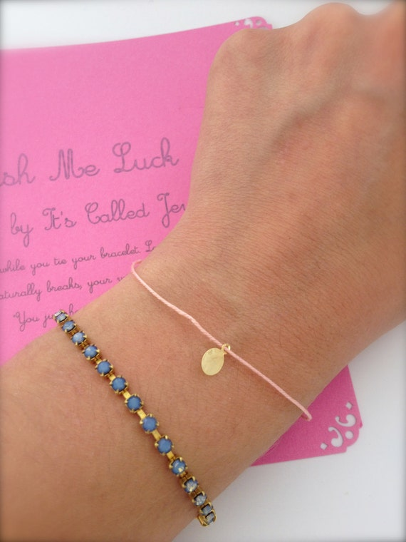 Wish bracelet, Tiny medal, Lucky bracelet, Minimalist everyday bracelet, Gold dot bracelet