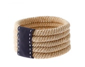 Jute 5 Bangle Set with Navy grosgrain edged stitched ribbon