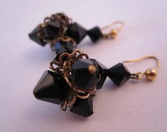 Vintage Black beads earring