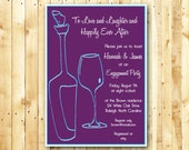 Engagement Party, Wine Invitation DIY Digital Printable OR Printed Invitation