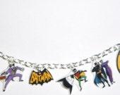 Batman Charm Bracelet- Batman- Robin- Joker