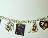 Nightmare Before Christmas Charm Bracelet- Jack and Sally