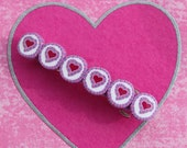 Heart barrette,Valentines day,  polymer clay barrette, pink purple and white heart barrette, hair jewelry for kids and teens
