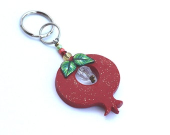 Keychain Pomegranate, prosperity symbol, Polymer clay Pomegranate, pomegranate in red, rosh hashanah gift