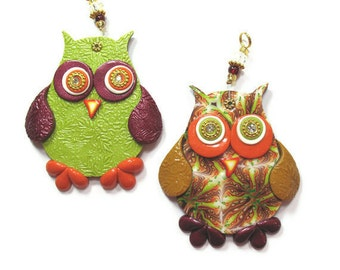 Children room decor, love owl wall decor, polymer clay elegant owl, a pair in maroon, green, orange, gold and red