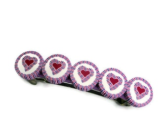 Heart barrette in pink and purple, polymer clay barrette, hair jewelry for kids, Valentines day gift, teens and women, handmade hair jewelry
