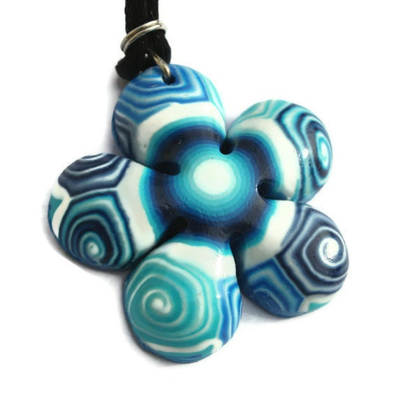 Flower shaped necklace, polymer clay blue turquoise and white spirals, Millefiori flower, gift for girls and teens