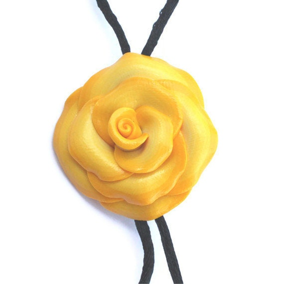 Elegant rose necklace, adjustable polymer clay rose necklace, yellow and white rose pendant, gift for teens and women