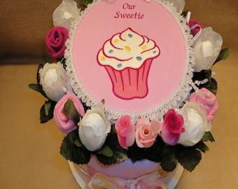 Baby Girl Pink Diaper Cake - Baby Girl Gift - Baby Shower Centerpiece - Baby Shower Decoration