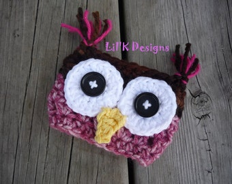 Owl Crochet Coffee Cozy