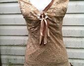 Romantic Upcycled Shabby Boho Shirt - Gypsy Cowgirl - Earthy Bohemian Chic