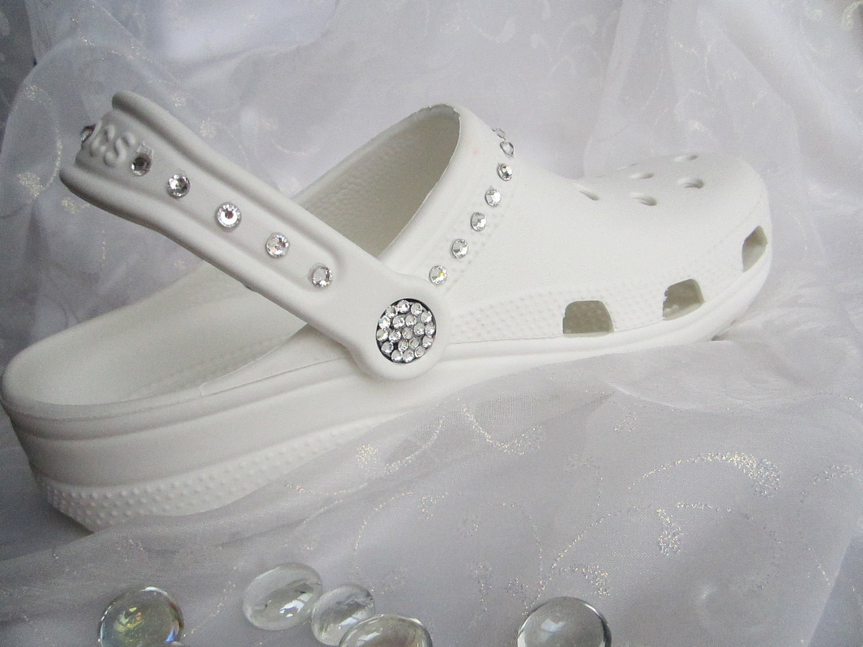 Croc Shoe Decorations Swarovski Crystal White Croc Bridal Clog Wedding Croc Women