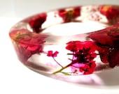 Red Rose Floral Resin Bangle Bracelet: Rosette