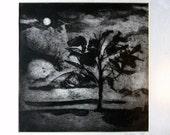 "Original Collograph print, Relief print, Printmaking, Fine Art, Moonlit landscape, Art print, Title: ""Moonlight"""