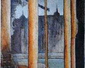 Nightfall, Original Collograph print,Window, Blue Orange Interior, Hand Embellished, Artist's Proof, Original Artwork, Fine Art Print