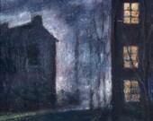 "Lit Up Windows at Night , ""Nightwalk"", Dark Blue, Midnight Blue, Warm Lights, Moonlit night, Oil Painting, Large Original Painting, Wall Art"
