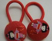 Ponytail Holder - Japanese Fabric Covered Button Hair Elastic - Geisha Girls