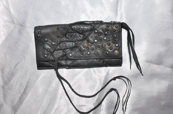 clutch black leather women studs
