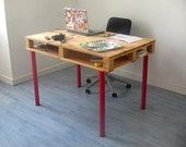 The Sarah. Compact Home Office Table. Made of reclaimed pallet wood. Free Shipping.