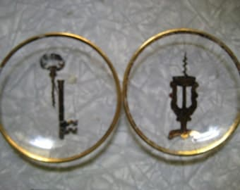 Two Glass Vintage Cheese Plates with Lock and Winekey Illustrations