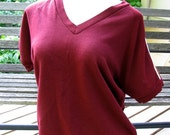 RESERVED for Shannan --- Sporty Maroon Short Sleeve Sweatshirt with Striped Sleeves